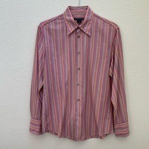 JOHN VARVATOS long sleeve pink striped button down